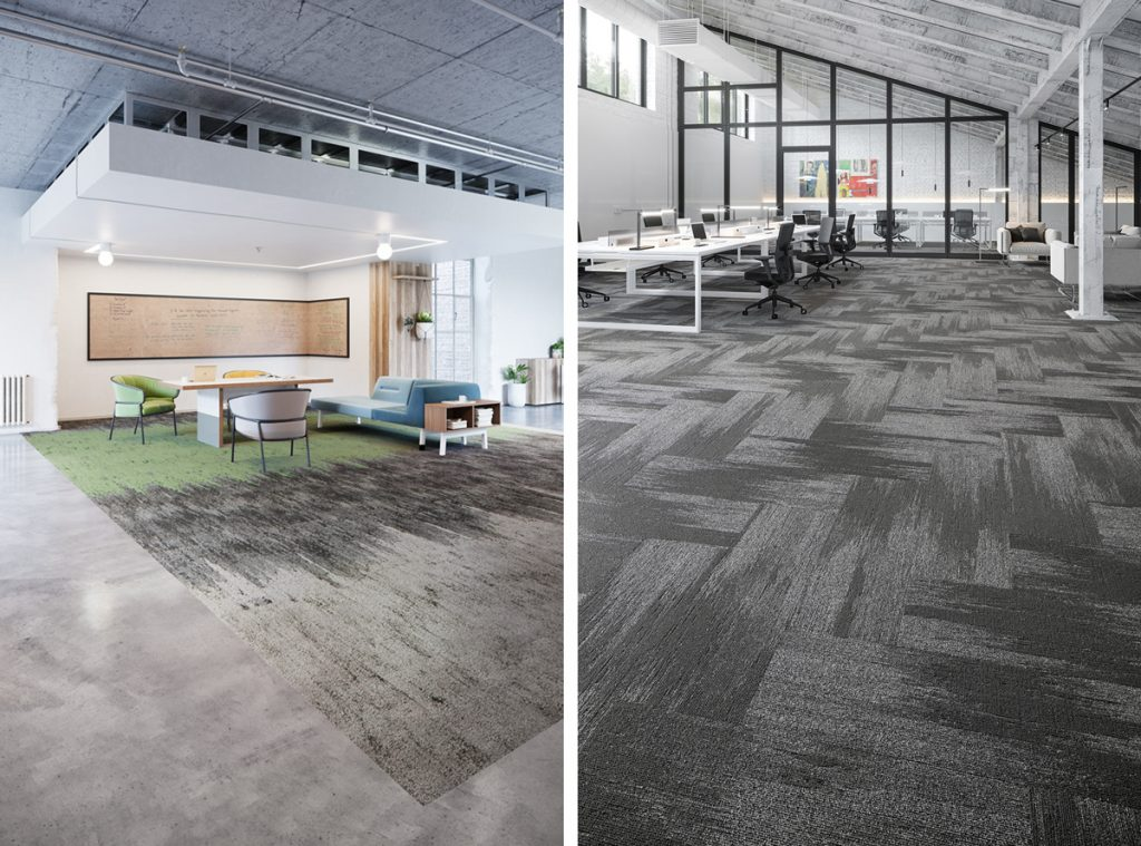 Nutopia and Nutopia Matrix Carpet Plank Workplace Flooring by Mohawk Group